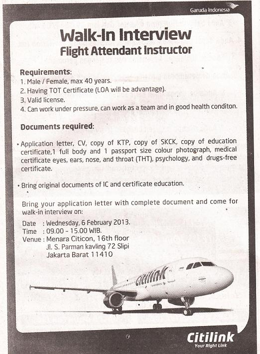 PT Citilink Indonesia – Recruitment Flight Attendant Instructor